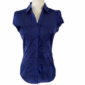 New York & Company Navy Lace Button Down Top S